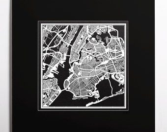 Paper cut map New York, matted 20×20 In. color alternative, Paper Art  IDEAL GIFTS