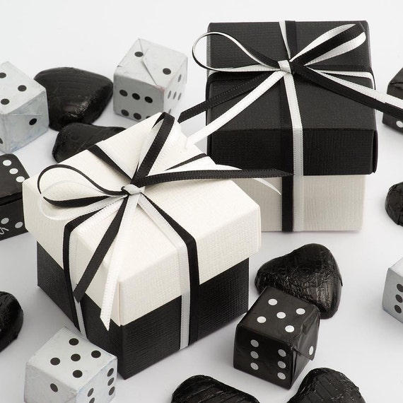 Celebrate It Occasions Favor Boxes With Lids Instructions : Two tone square favour box satin ribbon favor by