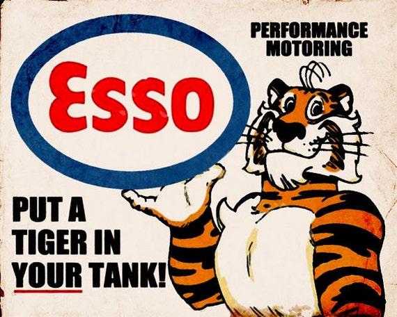 Esso Tiger Vintage Advertising Enamel Metal TIN SIGN Wall