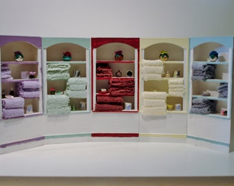 Bathroom shelves with accessories