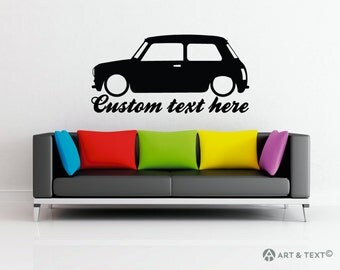 Large Custom personalized text -  Low Classic Mini Cooper wall decor vinyl sticker