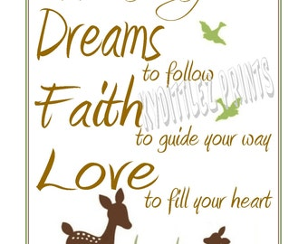 Willow Deer Baby Nursery or Child's Room Wall Art Decor 'May You Always Have Dreams Faith Love' Print