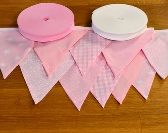 Pale pink double sided fabric bunting, 10, 15 or 20 flags.