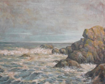 European art oil painting seascape bay, reef, 1948 signed