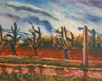 European art oil painting landscape 1960's