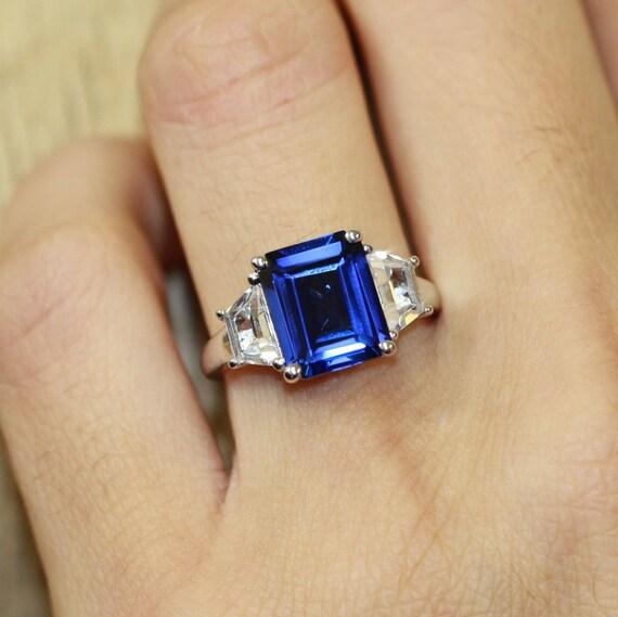 Emerald Cut Sapphire Engagement Ring in 10k White Gold 3 Stone Sapphire Ring  September Birthstone Gemstone