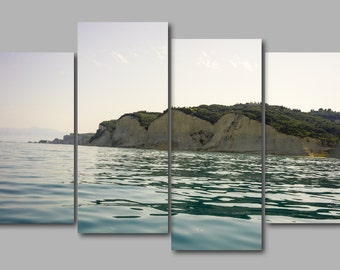 Large Corfu Coast Sunset Beach Med Sea 4 Panel Canvas Art Wall Art Picture