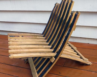 "Oak stave chaise lounge chair, 31""l x 22""w x 30""h, SFC-06"