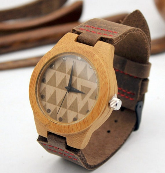 SALE Minimalist Bamboo Wooden Watch with Genuine Leather Strap ,mens watch, groomsmen gift, wood watch, men's watch WT003