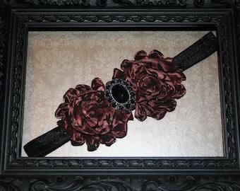 Black headband with brown shabby flowers, 16 inch headband, headband