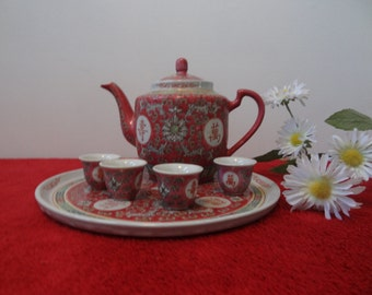 Vintage Whole Set of Chinese Teapot with 4 Cups and A Tray