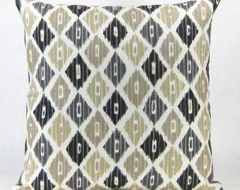 Brown Ikat Decorative Pillow - Beige and Black Ikat Designer Throw Pillow, Euro Sham, Sofa Pillow