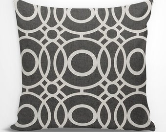black and white geometric euro sham charcoal black and white geometric circles decorative pillow