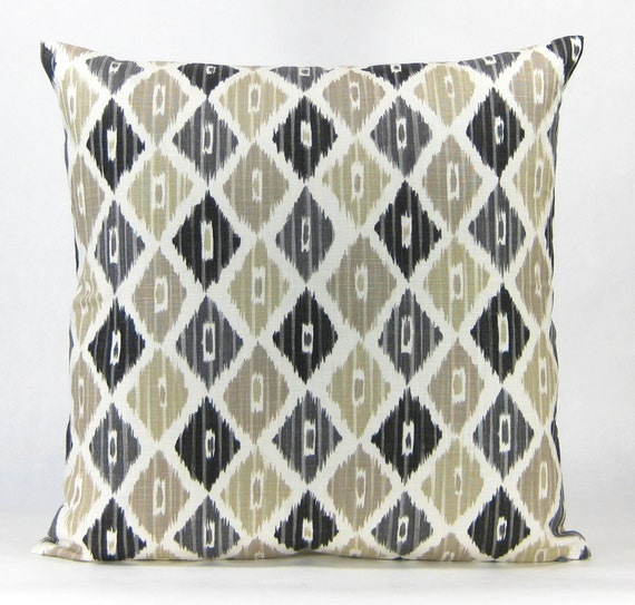 Black And Beige Decorative Pillows : Brown Ikat Decorative Pillow Beige and Black Ikat Designer