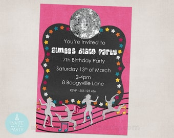 Disco Party Invitation / Dance Party Invitation