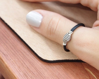 Sterling Silver and Black Rubber Ring