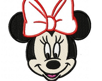 Minnie Mouse Embroidery Design with Applique Bow - Instant Download
