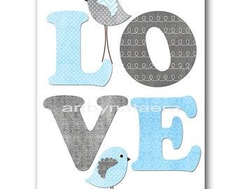 Love Nursery Digital Print Printable Art Baby Boy Nursery Children Art Kids Wall Art Baby Boy Room Decor 8x10 11X14 INSTANT DOWNLOAD blue