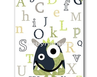 Digital Alphabet Nursery Art for Children Monster Nursery Printable Digital Print Baby Boy Nursery Print 8x10 11X14 INSTANT DOWNLOAD green