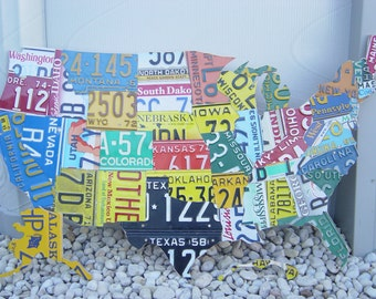 Cutout  Hand Crafted License Plate Maps Of The U.S.!!!!