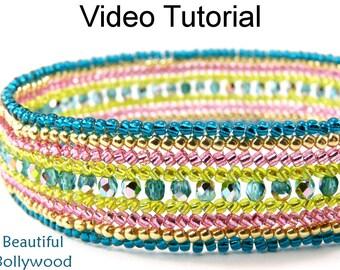 Video Tutorial Bracelet Beaded Jewelry Making Pattern Herringbone Colorful MP4 Instructions Directions Beadweaving Stitch Beads #9533