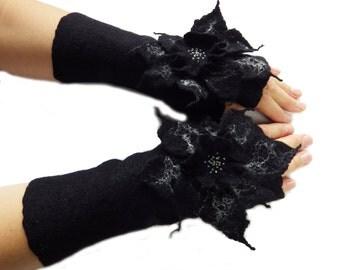 Black Felted Mittens fingerless gloves with flower.