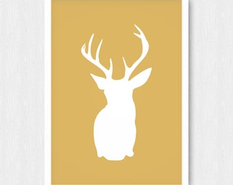 Gold Deer Head Print, Wall Print, Wall Decor, Gold, Deer Head Silhouette, Download, Printable, Digital Poster Print, Instant Download