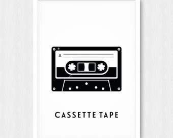 Black Cassette Tape Print, Wall Print, Wall Decor, Black White, Cassette Tape, Mix Tape, Music, Printable, Retro, Digital Poster, Download