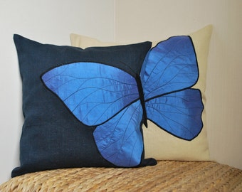 Butterfly Pillow covers Blue&Beige