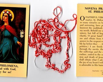 Saint PHILOMENA VIRGIN & MARTYR Sacramental of the Church Cord and Prayer Card Pack. New and handmade