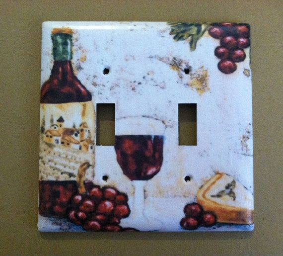 wine and grapes kitchen home decor custom light switch covers. Black Bedroom Furniture Sets. Home Design Ideas