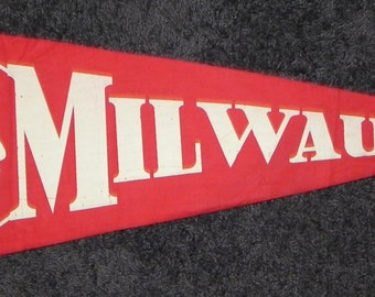 1950's Milwaukee Braves Pennant with Indian mascot featured - Antique Baseball