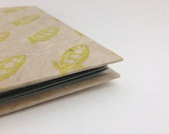 Concertina sketchbook, handmade notebook, hand stamped scrapbook album
