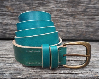 Leather belt, turquoise, handmade, self-coloured, italian cattle leather, with antiqued buckle