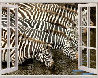Zebra wall decal 3D window, zebras wall sticker for home decor, nature wildlife wall art for nursery children kids home decoration [091]