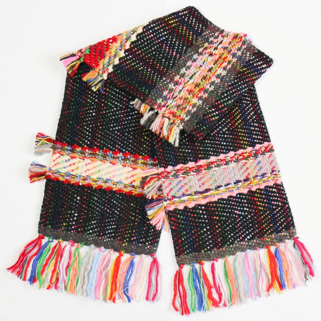 woven scarf carnival handwoven scarf unique scarf