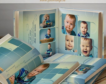PHOTOBOOK - Our baby-boy- photo books in classic style  - Photoshop Templates for Photographers. 12x12 Photo Book/Album Template