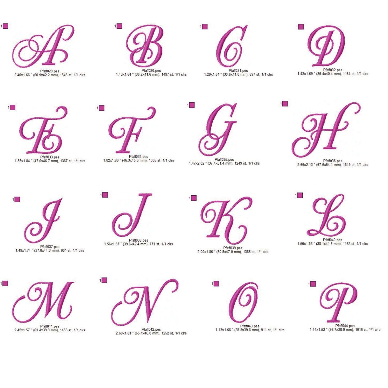 Monogramma alfabeto script ricamo design 4x4 dst exp hus for Ricamo punto croce lettere