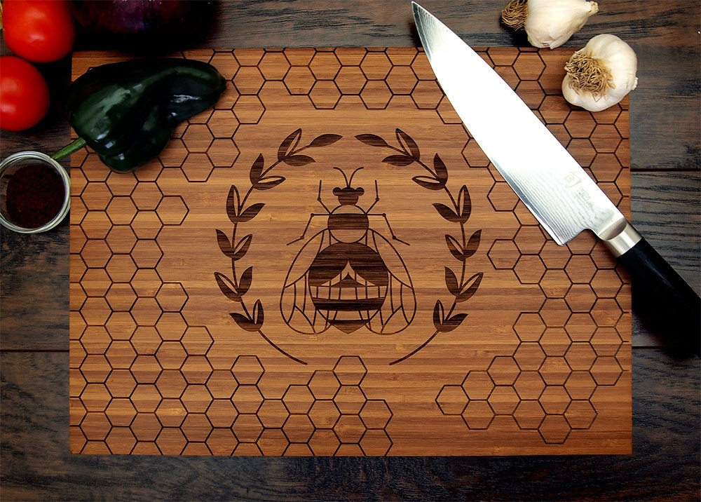 Wedding Gift Cutting Board: Personalized Cutting Board Wedding Gift Honey Bee Honeycomb