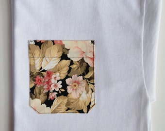 floral pocket tshirt bridesmaid gift idea,peach floral shirt,peach floral pocket shirt