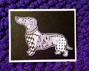 Zentangled Dachshund Greeting Cards