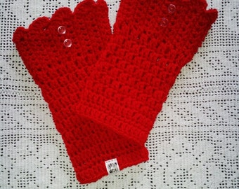 Crochet Fashion Red Women's Boot Cuffs Larger than Normal with Buttons
