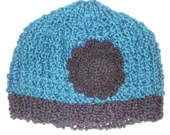 Hurdles Blue Hawaii Knitted Girl's Hat with Flower