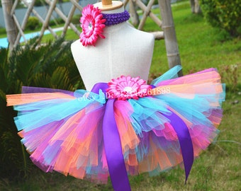 Birthday party Tutu hot pink and blue toddler tutu baby girl skirts handmade Tutu