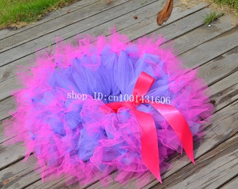 Birthday party Tutu hot pink and  purple  toddler tutu baby girl skirts wedding dressy