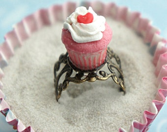 red velvet cupcake ring- miniature food ring, cupcake jewelry