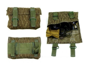 "Waterproof belt pouch in ""rain"" camo - genuine 1980s army surplus - good for cartridge bag"