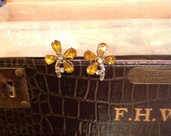 1940s Rhinestone Floral Earrings