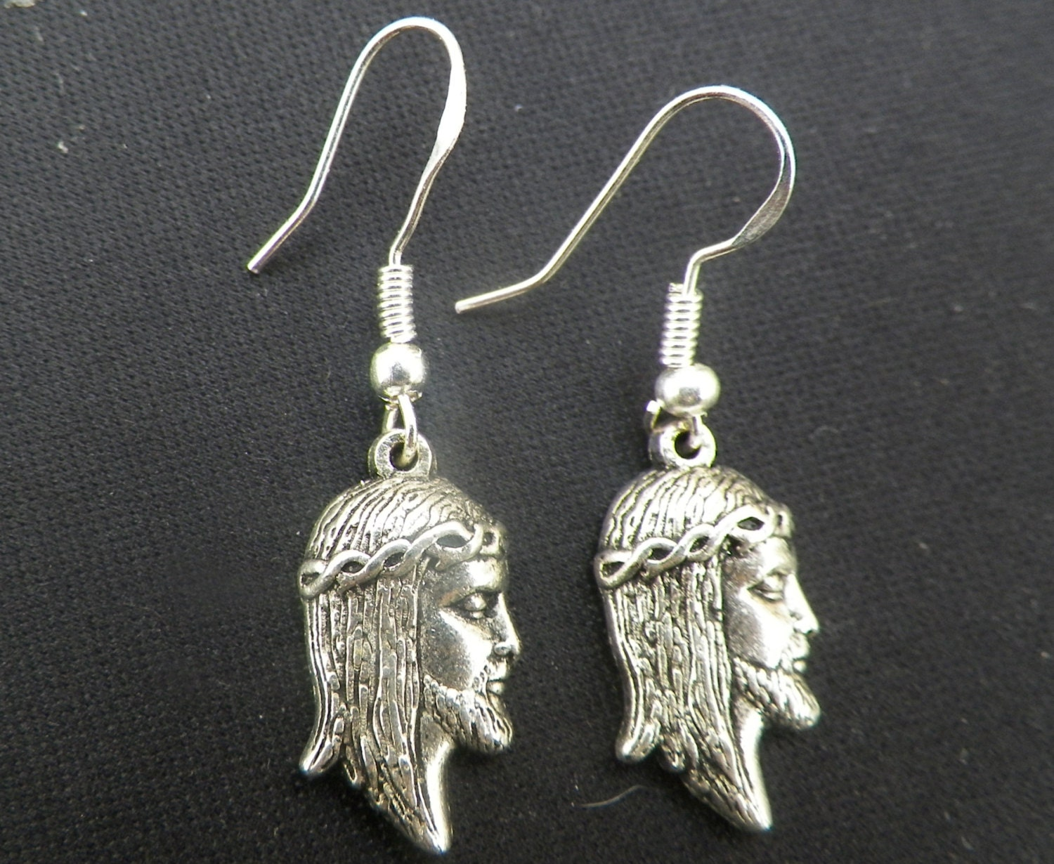 jesus earrings silver jesus earrings 4327