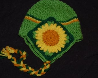 Sunflower granny square hat